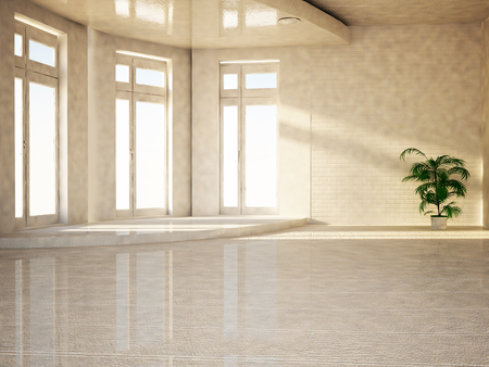 celling: empty room with the big windows, 3d rendering