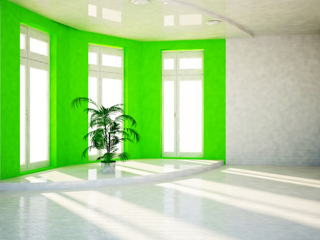 celling: green plant on the podium 3d rendering