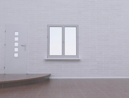 threshold: empty room with the door and the window, 3d rendering