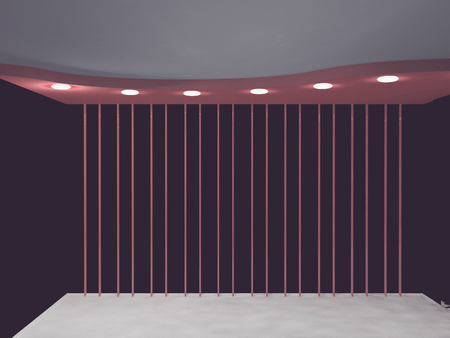 celling: empty room in violet colors, 3d rendering Stock Photo