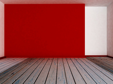 empty room: empty red wall in the room, 3d rendering