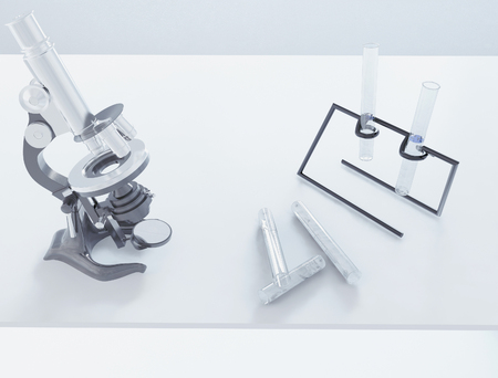 laboratory, microscope with beakers, 3d rendering