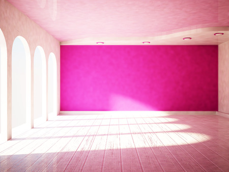 many windows: empty room with many windows, 3d rendering Stock Photo