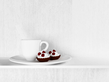 a cup and a two cakes on the plate 3d rendering photo & A Cup With The Nice Scoop 3d Rendering Stock Photo Picture And ...