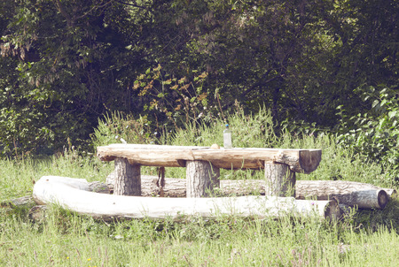 wooden bench and a table in the forest, rest time