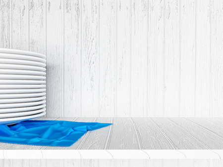 table decor: many plates on the blue napkin, 3d rendering Stock Photo