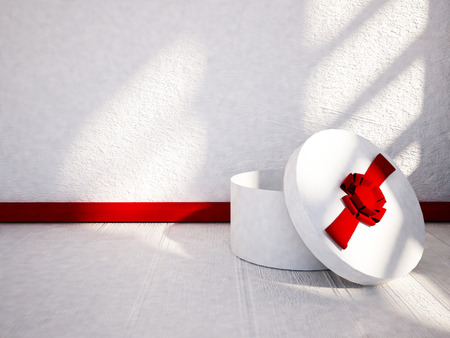 gift on the floor, 3d rendering