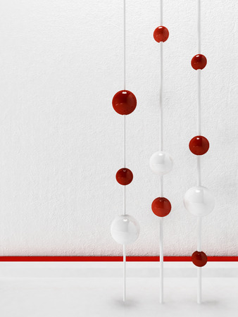 concrete block: red and white balls in the room, abstrack composition, 3d rendering