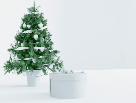 modern living room: Christmas tree and a gift, 3d rendering Stock Photo