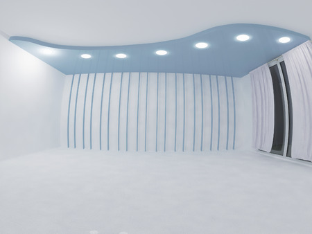empty room with the suspended ceiling, 3d rendering Stok Fotoğraf - 68194387