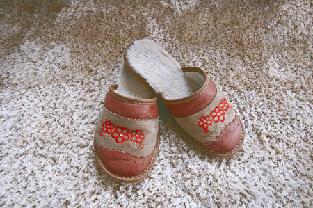 houseshoe: slippers on the soft carpet