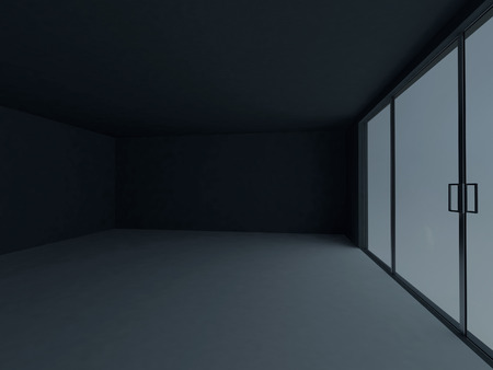 architectural feature: empty dark room with the big windows, 3d rendering