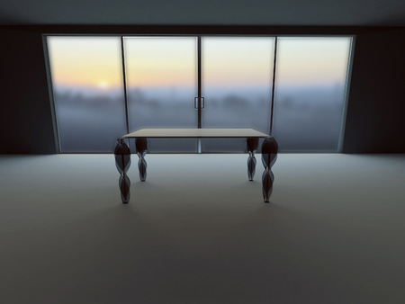 celling: empty  room with the table, 3d rendering