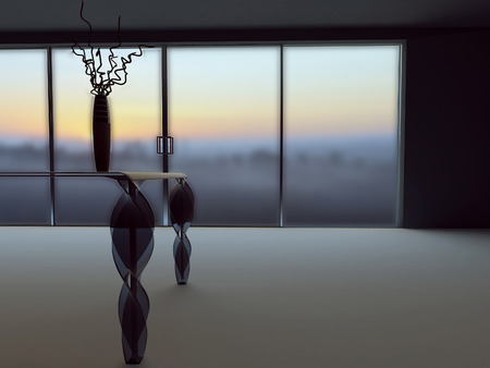celling: vase on the table, 3d rendering