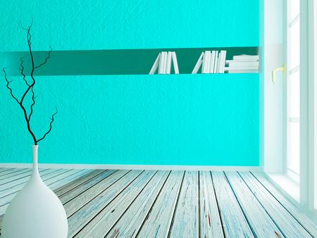 condo: vase on the wooden floor, 3d rendering
