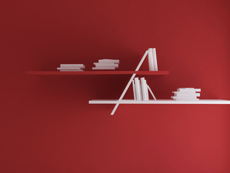 study group: many books on the shelves, 3d rendering Stock Photo