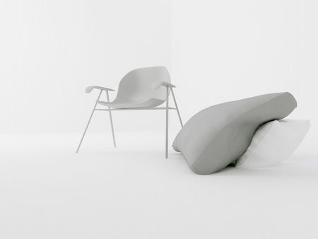 modern chair in the room, 3d rendring