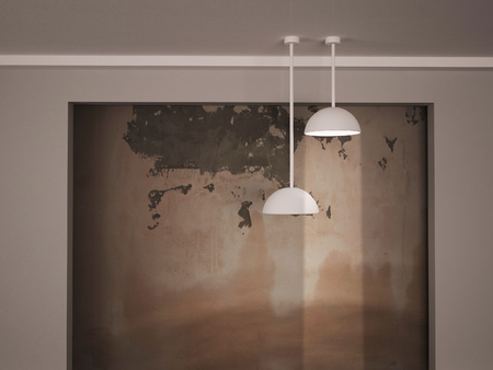 dirty room: two lamps near the grunge wall, 3d rendering