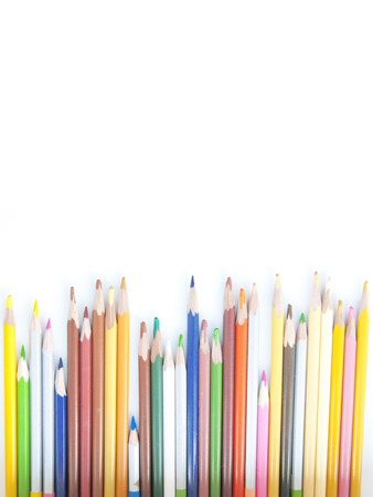 Many colored pencils in a row, set