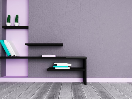 niche: creative shelf in the room, 3d rendering Stock Photo