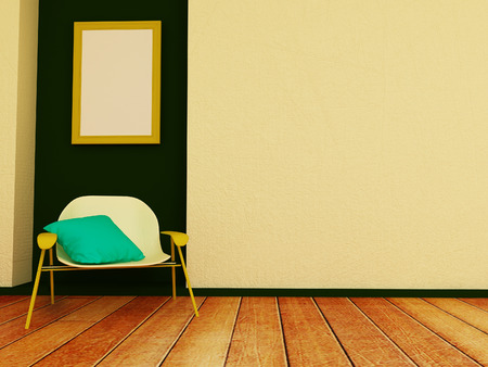 niche: modern chair in the room, 3d rendering Stock Photo