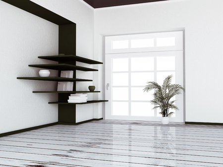 empty room with the window and a plant near it, 3d rendering