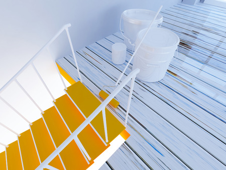 painting of stairs, workflow in the room, 3d rendering Stock Photo