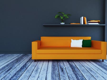 modern sofa in the room, 3d rendering
