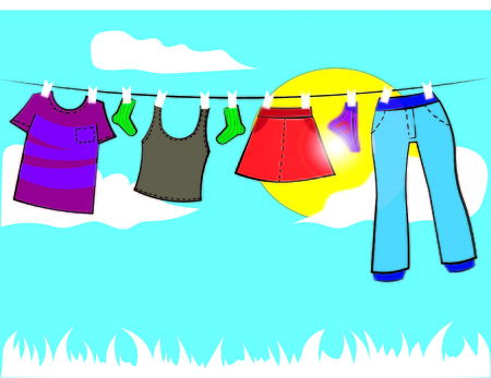 baby clothes on a rope with clothespins, vector