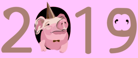 Christmas card, vector graphics, piggy in the hat, 2019
