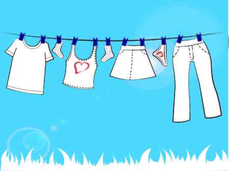 baby clothes on a rope with clothespins, vector graphics