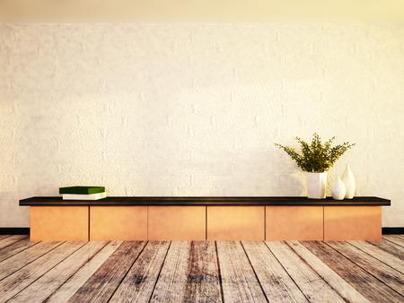 Vasen und die Bücher im Regal, 3D-Rendering Standard-Bild