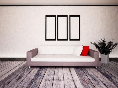 witte bank in de kamer, 3D-rendering