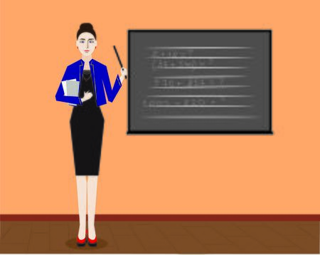 teacher near the blackboard, lessonin the classroom, vector Illustration