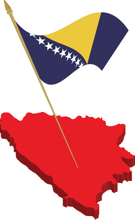 bosnia and herzegovina 3d map and waving flag, fully scalable vector, every object on different layer Vector