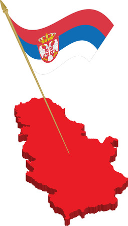 serbien: Serbien 3d Karte und waving Flag, vollst�ndig skalierbare Vektor, jedes Objekt auf verschiedenen Ebenen
