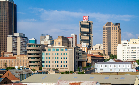 gauteng: Johannesburg, South Africa - November 14, 2015: Old and new office buildings in Johannesburgs inner city Editorial