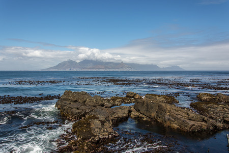 robben island: The view of Cape Town and Table Mountain from Robben Island Stock Photo