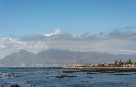 robben island: Cape Town and Table Mountain as seen from the Robben Island harbour