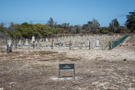 robben island: Cape Town, South Africa - March 03, 2017: Robben Island leper graveyard Editorial