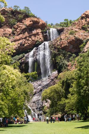 Johannesburg, South Africa - December 31, 2017: Waterfall in the Walter Sisulu National Botanical Garden in Roodepoort, Johannesburg Editorial