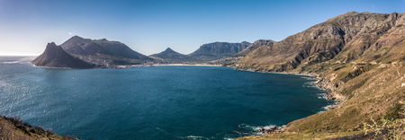 Beautiful view of Hout Bay and scenery along Chapmans Peak drive near Cape Town