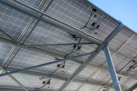 Underside of solar panel carport