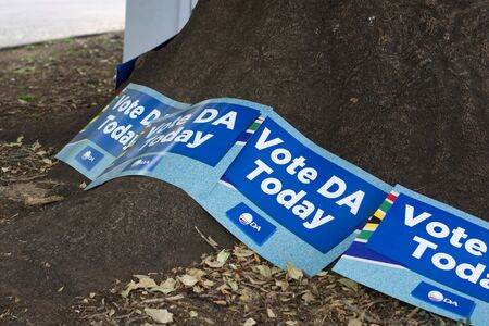 Johannesburg, South Africa - May 08, 2019: Political party posters at the voting Station for the South African National Elections
