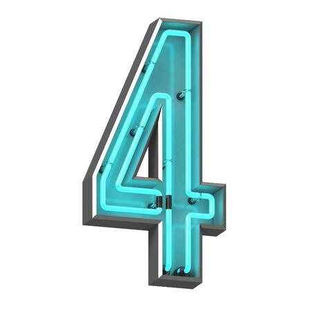 3d neon number four Zdjęcie Seryjne