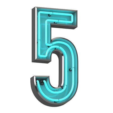 3d neón número cinco