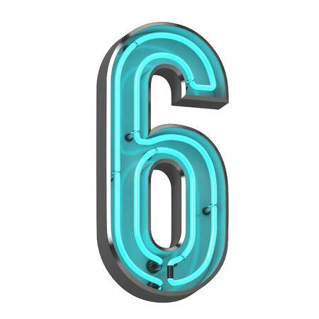 3d neon numer sześć
