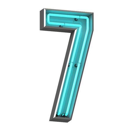 3d neon number seven