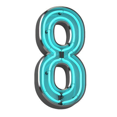 3d neon number eight Stok Fotoğraf
