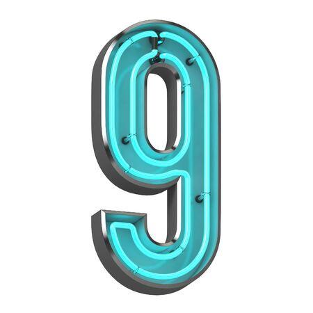 3d neon number nine